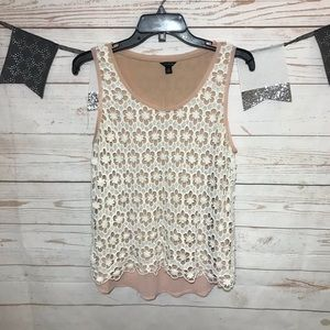 Ann Taylor Crochet Layered Rank Top Size M